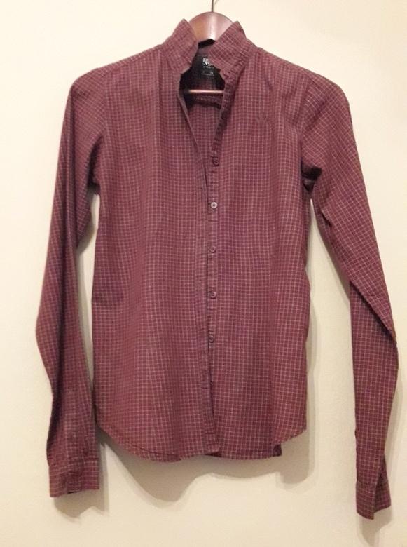 Pull&Bear Koszula w kratkę stójka taliowana bawełniana