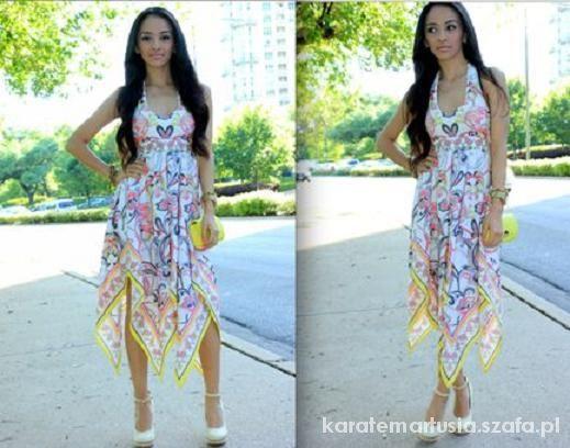 Zwiewna sukienka asymetryczna we wzory boho H&M 34