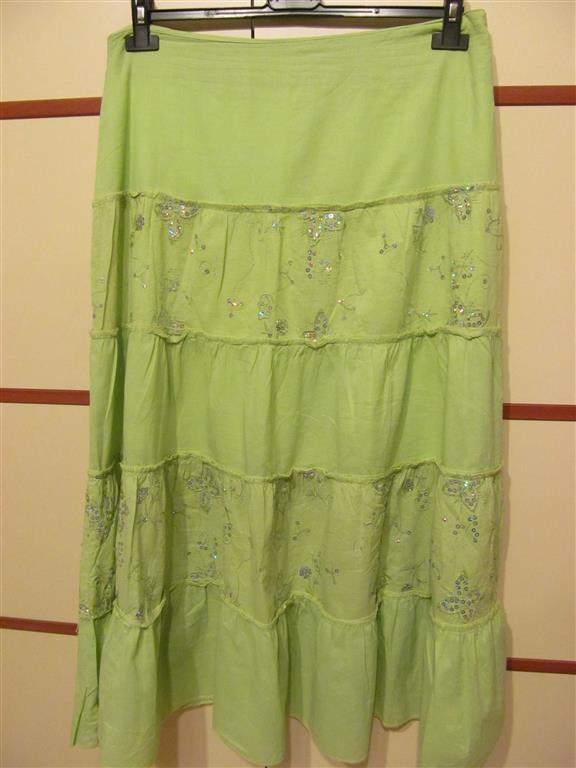 Spódnice długa spódnica seledynowa 44 cekiny falbany