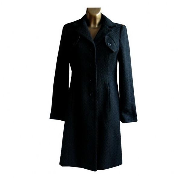 Klasyczny Ciepły Czarny Płaszcz L XL