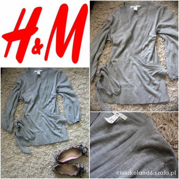 szary kopertowy sweterek h&m 36