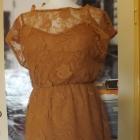 ruda sukienka tunika koronka M