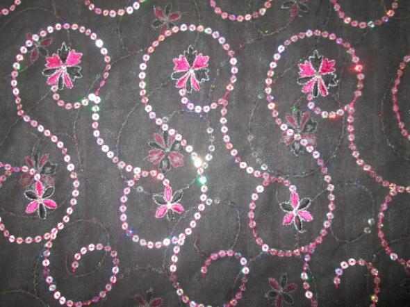 SZAL piękny duży elegancki cekiny haft
