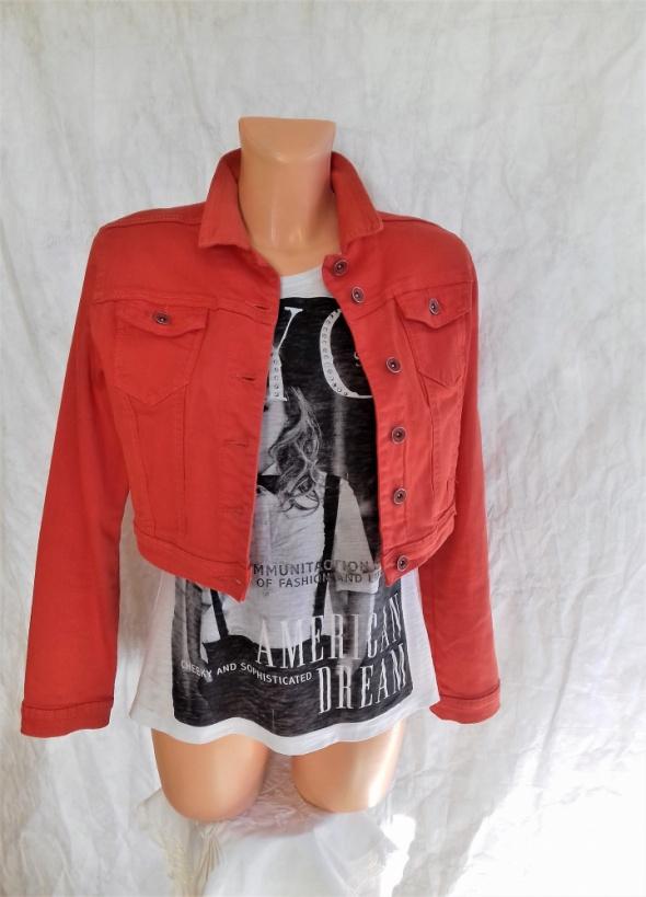 Nowa Krótka pomarańczowa kurtka jeans M kieszonki przeszycia
