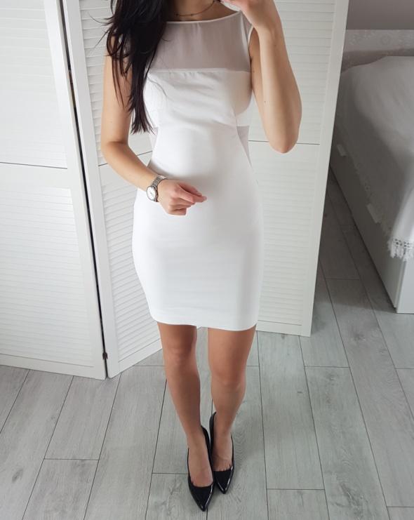 Zara basic XS 34 biała sukienka z przezroczystymi wstawkami siateczką