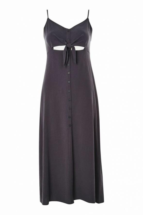 Midi sukienka wiązana na guziczki