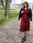 Sukienka midi w panterkę