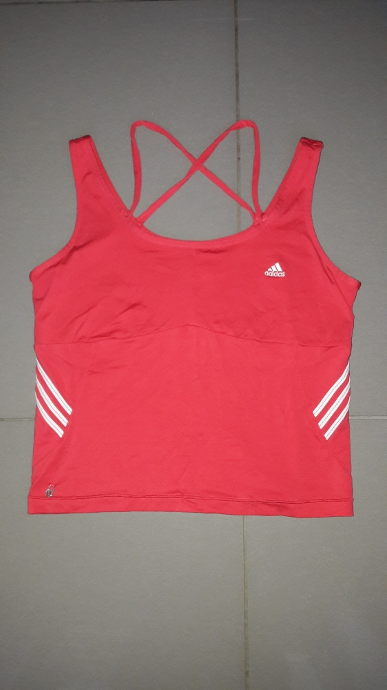 77eee2993a5eb9 Rożowa koszulka Adidas L do biegania fitness paski dekolt w Koszulki ...