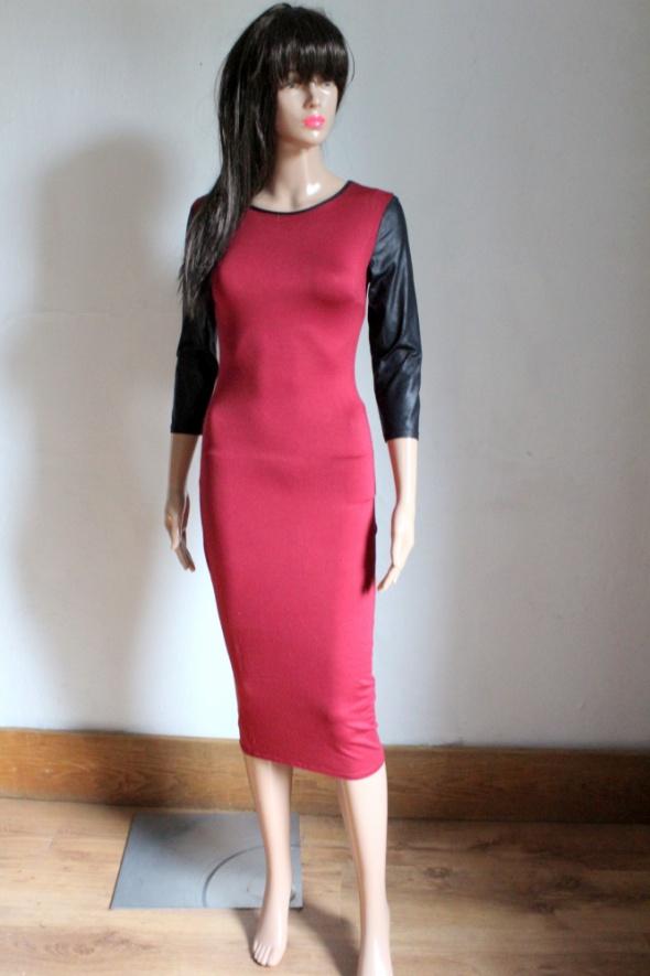 Elegancka bordowa sukienka midi r XS...