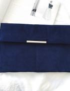 d9400fa08a46c Granatowa stylowa kopertówka zamszowa minimalizm must have.