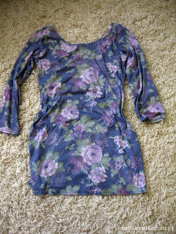 bluzka tunika floral fioletowa 38 M atmosphere