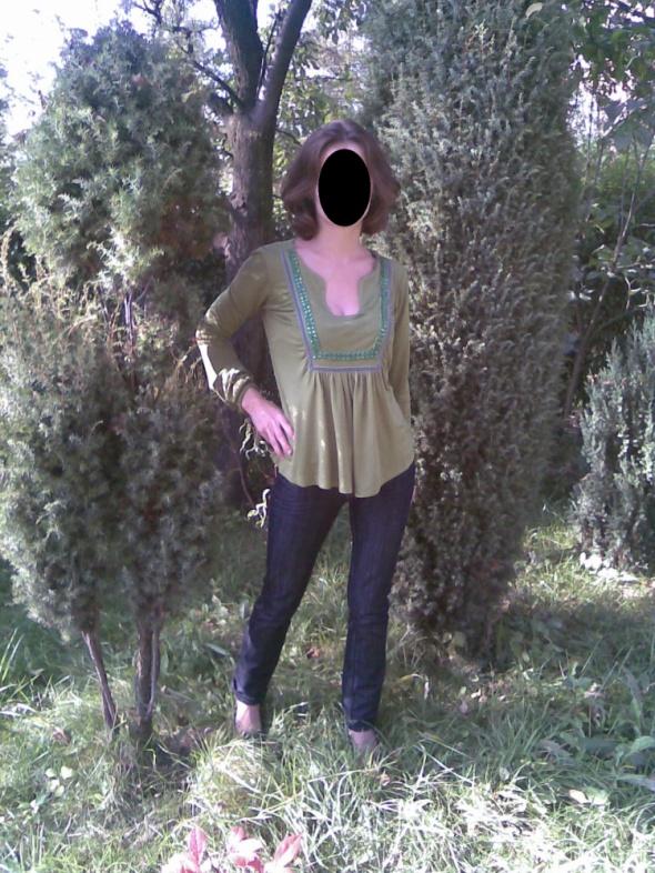 Zielona bluzka z cekinami Zara XS 34