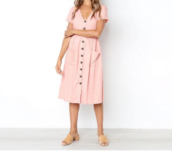 Suknie i sukienki Różowa sukienka z krótkim rękawkiem
