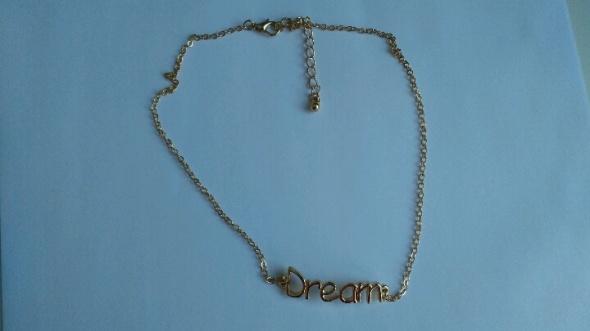 Asos naszyjnik złoty łańcuszek Dream napis celebrytki