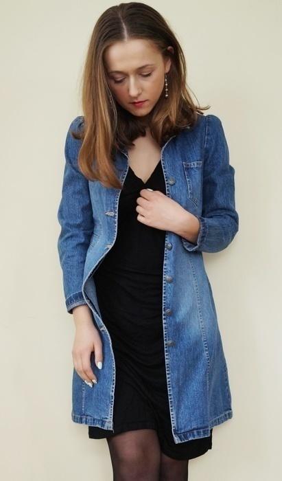 Jeansowy długi żakiet 34 36