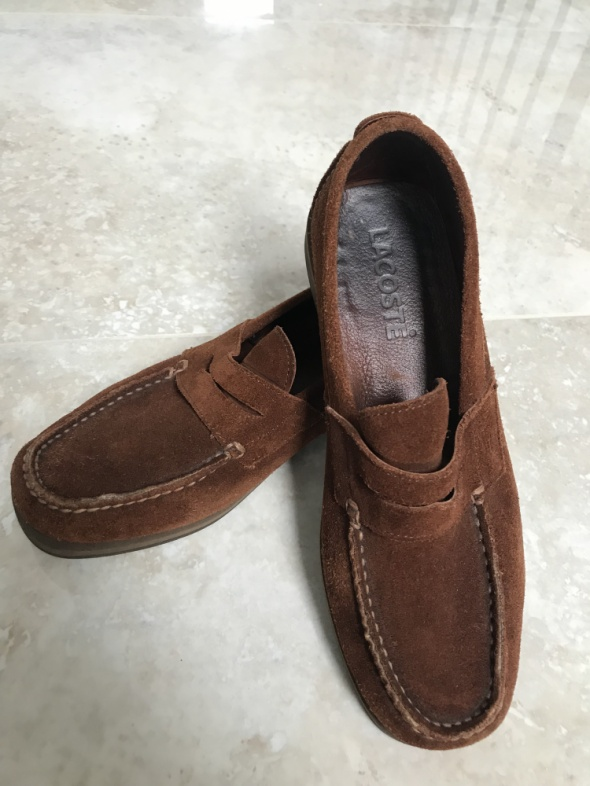 Lacoste buty mokasyny skórzane brązowe zamszowe