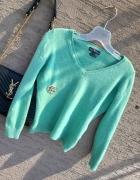 sweter zielony miętowy z dekoltem V kaszmirowy moherowy r S...