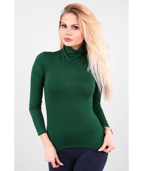 sweter z golfem golf zielony r S