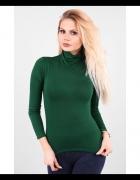 sweter z golfem golf zielony r S...
