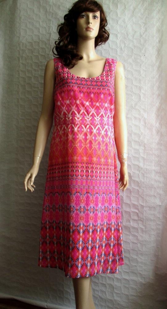 M&CO letnia sukienka róż wzory neonowa 44...