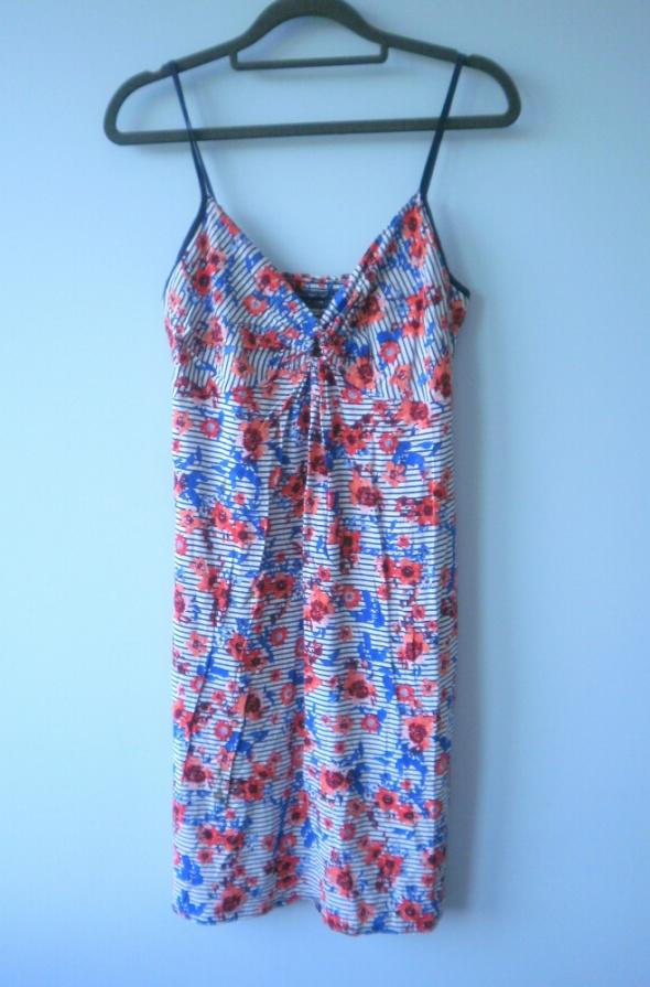 Marks and Spencer sukienka paski kwiaty marine