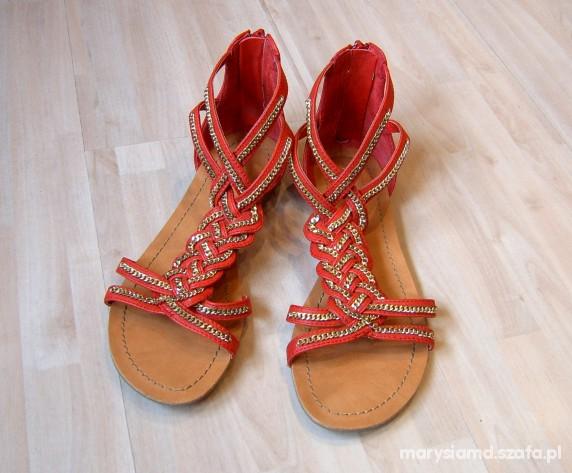 Sandały Czerwone sandałki Aldo 37 chain
