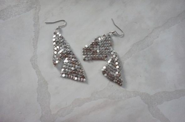 Wiszące eleganckie kolczyki glamour modern srebrne