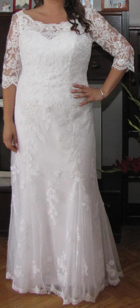 c05a223e55 Suknia ślubna xxl biała koronka tanio okazja w Suknie ślubne - Szafa.pl