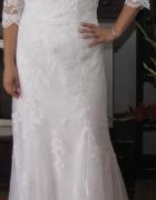 Suknia ślubna xxl biała koronka tanio okazja