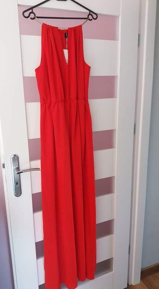 Nowa długa czerwona sukienka Mohito rozmiar 40