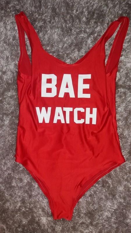 Strój kąpielowy L XL czerwony Bae Watch