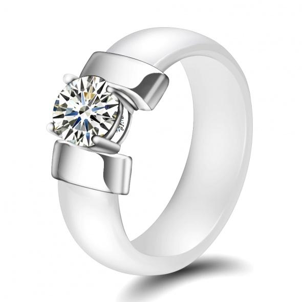 Nowy pierścionek ceramiczny biały srebrny kolor cyrkonia