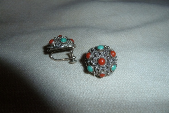stare srebrne z koralami i turkusami pr 1