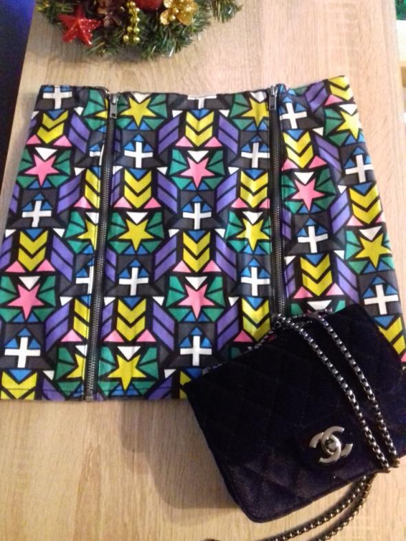Spódniczka mini kolorowa z zamkiem H&M