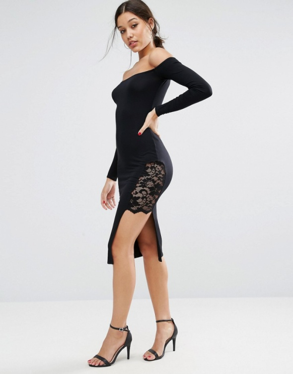 Suknie i sukienki Asos midi sukienka czarna koronka hiszpanka
