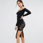 Asos midi sukienka czarna koronka hiszpanka
