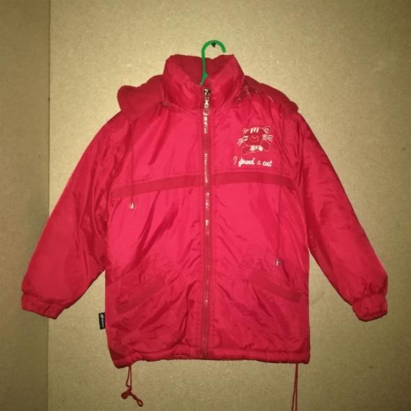 Czerwona zimowa kurtka z kapturem 104 cm 4 lata