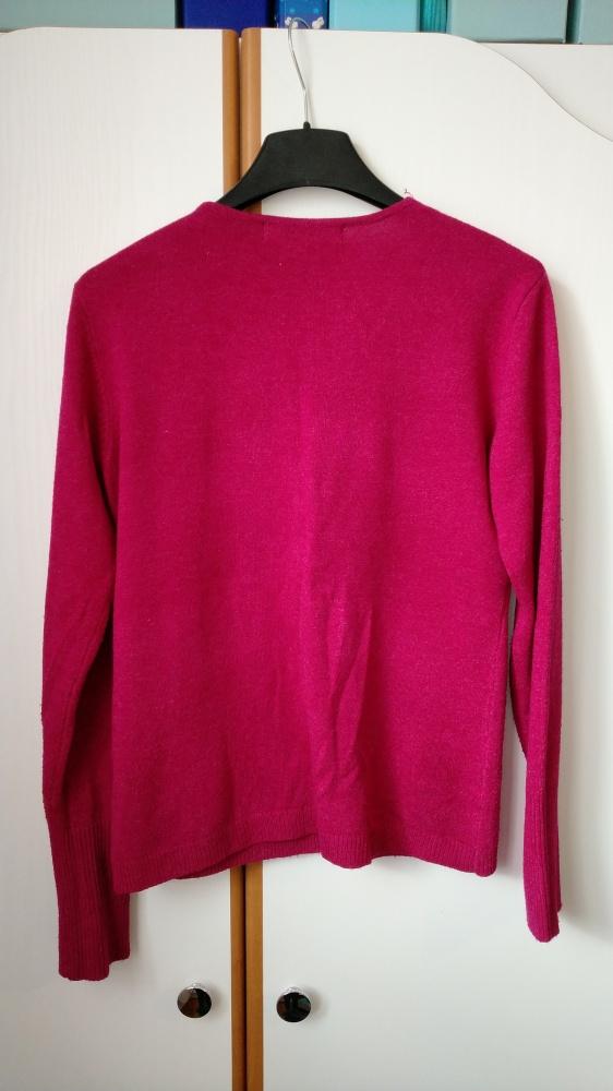 Swetry malinowy sweterek rozpinany na guziki