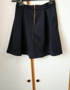 Elegancka granatowa spódniczka mini mini spódnica na zamek jak Nowa
