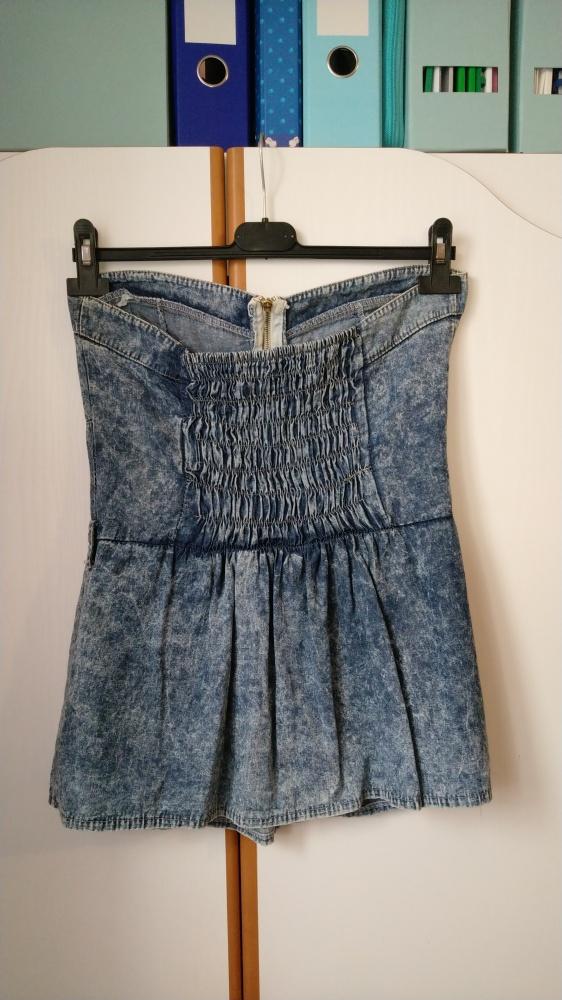 Tuniki tunika jeansowa dżinsowa mini odkryte ramiona krótka mini gorset