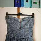tunika jeansowa dżinsowa mini odkryte ramiona krótka mini gorset