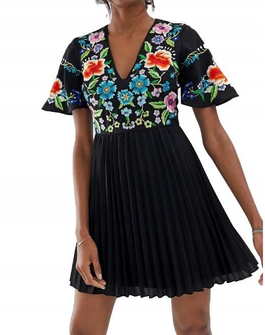 ASOS nowa sukienka haft plisowana 40 L
