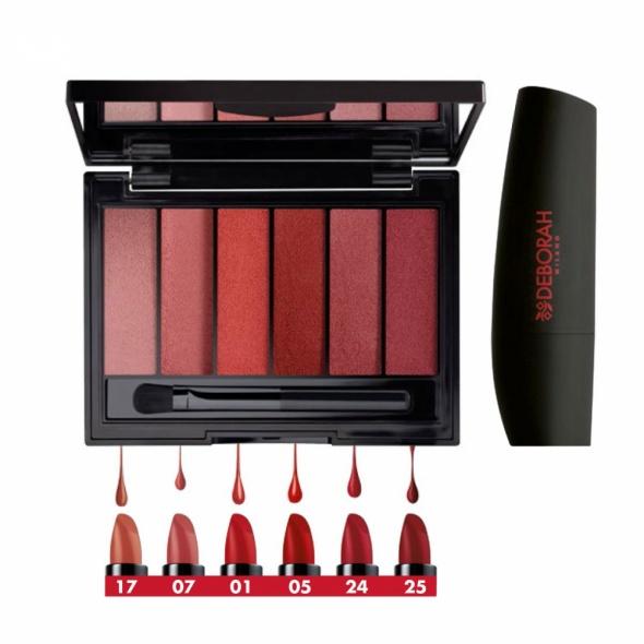 Paletka Deborah Milano My Best Atomic Red Mat Lips Palette