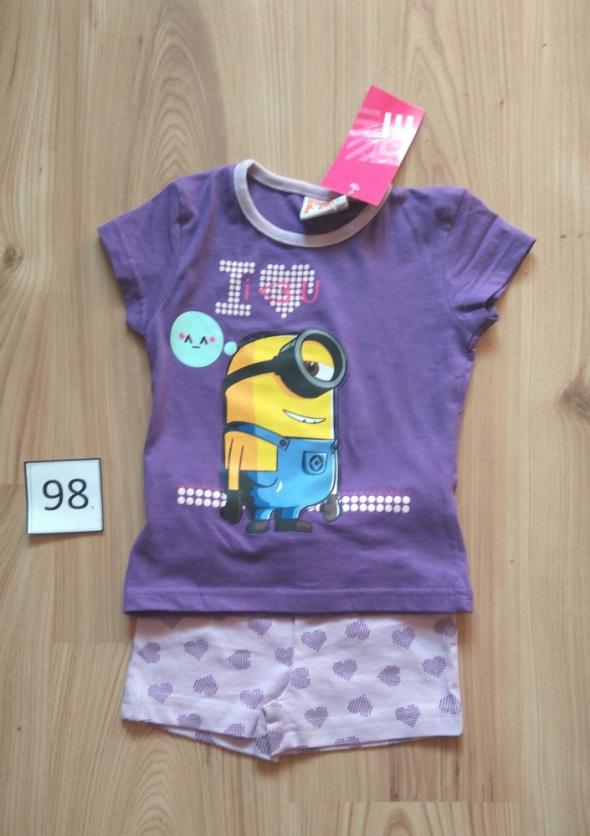 Fioletowa piżama z krótkim rękawem dziewczęca Minionek 98