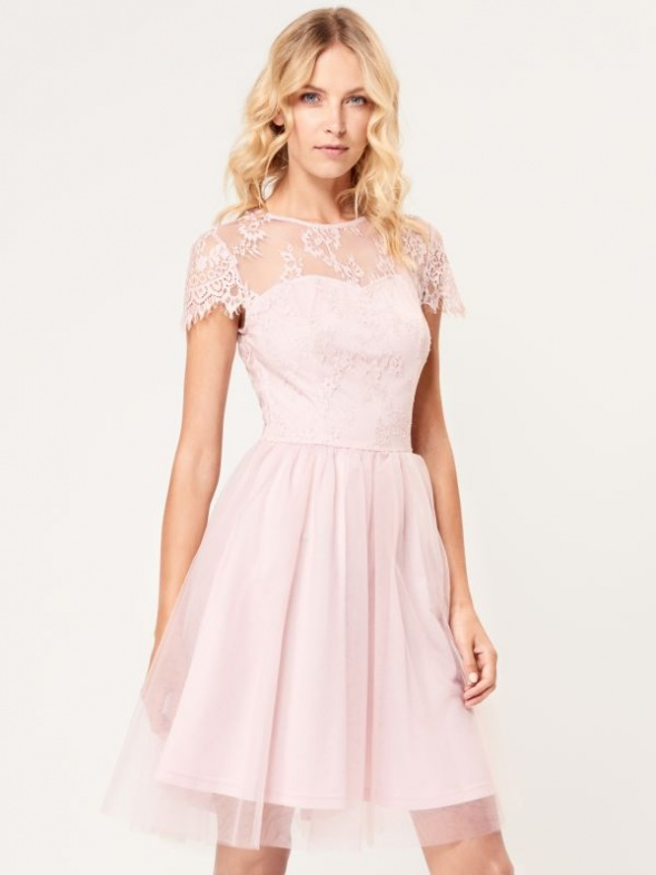 sukienka mohito pudrowy róż tiulem koronka 34