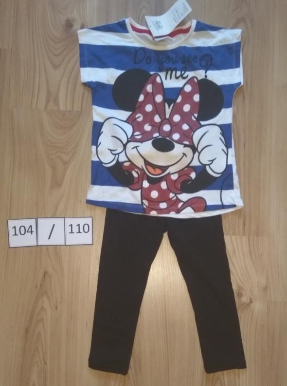 Bluzka z krótki rękaw Myszka Minni Mouse czarne leginsy getry 104 110