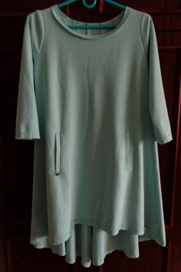NTS miętowa asymetryczna tunika sukienka 36 38