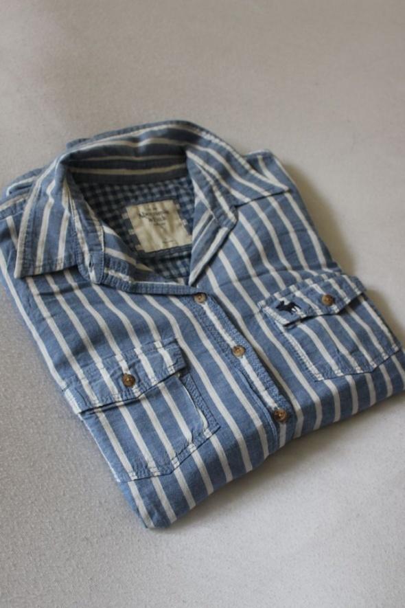 bawełniana koszula w paski niebiesko białe L...