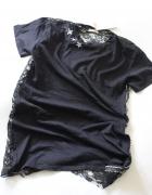 czarna bawełniana tunika z łączonych materiałów...