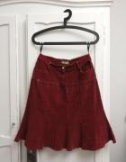 bordowa spódnica na zakładki...